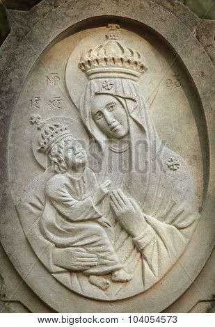 Statue Of The Virgin Mary With The Baby Jesus Christ