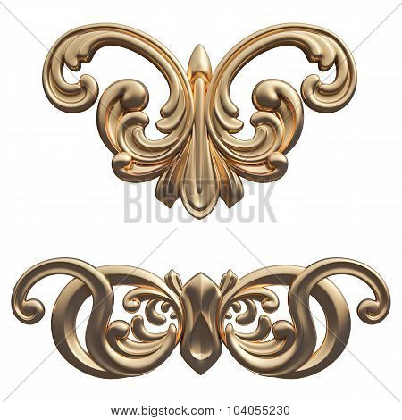 Gold Pattern. Isolated Over White Background