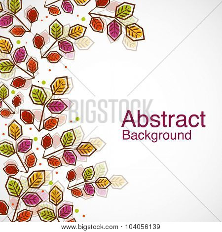 Colorful creative leaves decorated abstract background.