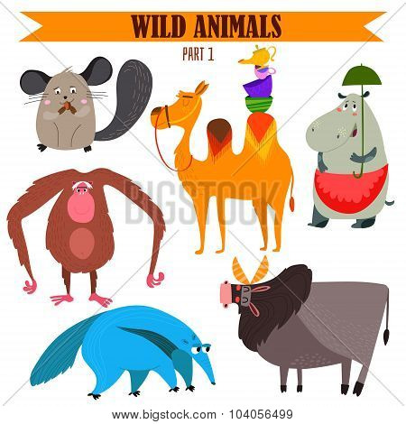 Vector Set-wild Animals In Cartoon Style. Part 1: Chinchilla, Camel, Hippopotamus, Anteater, Zebu, C