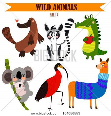 Vector Set-wild Animals In Cartoon Style. Part 4: Platypus, Koala, Ibis, Alligator,lama,lemur.bright