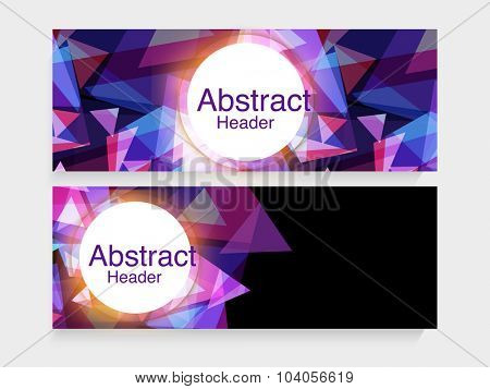 Shiny creative abstract design decorated website header or banner set for your business.