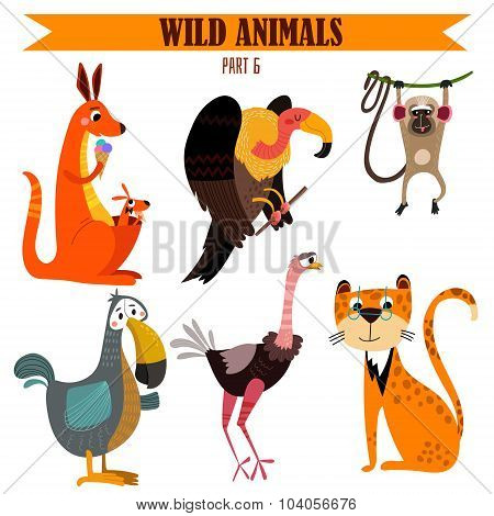 Vector Set-wild Animals In Cartoon Style. Part 6: Kangaroos, Vulture,macaque, Dodo, Tiger, Ostrich.b