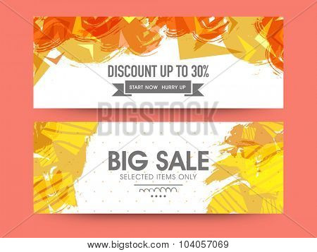 Abstract website header or banner set of Big Sale with 30% discount offer on selected items only.