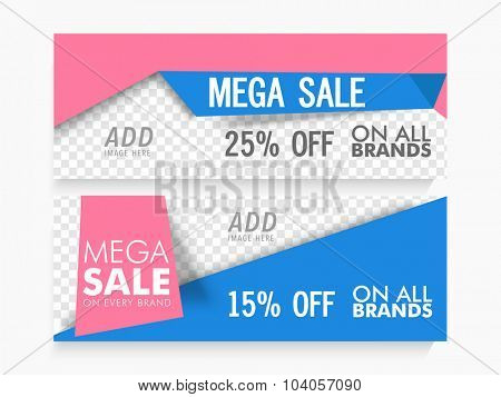 Mega Sale website header or banner set with discount offer and space to add image.