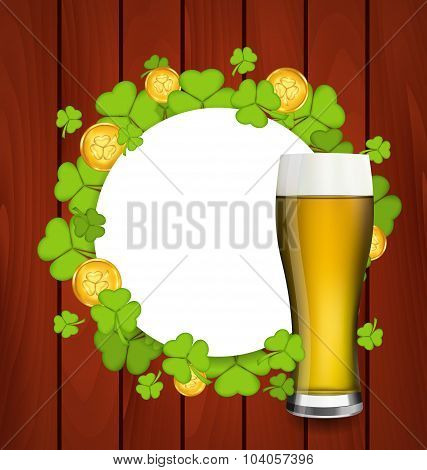 Greeting card with glass of light beer, shamrocks and golden coi