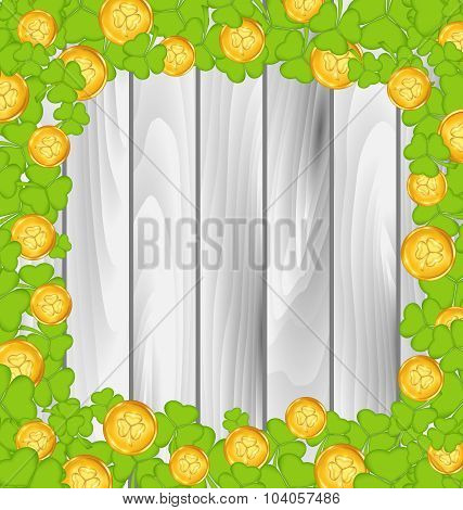 Border with shamrocks and golden coins for St. Patrick's Day, gr