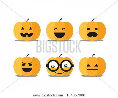 Different helloween pumpkin faces clip-art