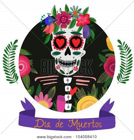 Mexican Sugar Skull-day Of The Dead.poster Design In A Colorful Style.