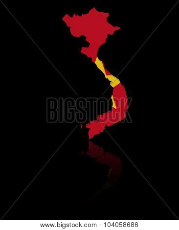 Vietnam map flag with reflection illustration