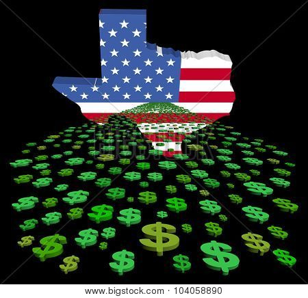 Texas map flag with abstract dollars illustration