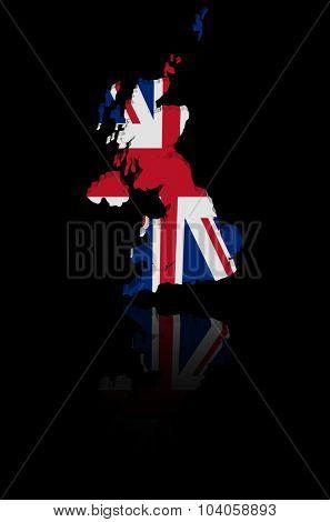 UK map flag with reflection illustration