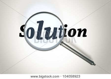 An image of a magnifying glass and the word Solution