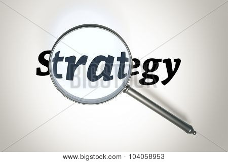 An image of a magnifying glass and the word strategy