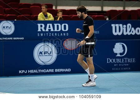 KUALA LUMPUR, MALAYSIA - SEPTEMBER 30, 2015: Nikoloz Basilashvili from Georgia reacts during his match at the Malaysian Open 2015 Tennis tournament held at the Putra Stadium, Malaysia.