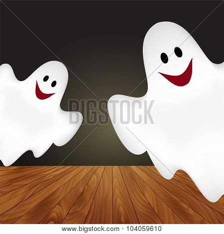 Halloween Background With Ghosts.