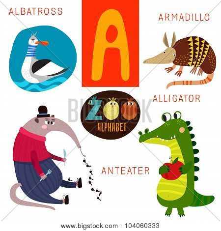 Cute Zoo Alphabet In Vector.  A Letter. Funny Cartoon Animals: Albatross,armadillo,alligator,anteate