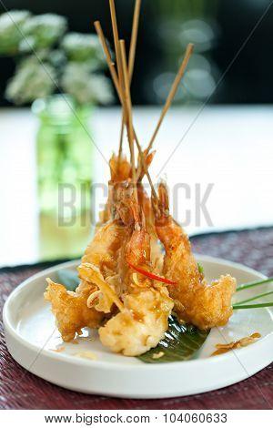 Thai Tempura Shrimp Skewers