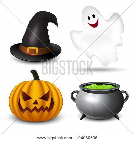 Icons Halloween pumpkin, witch hat, ghosts, witches cauldron.