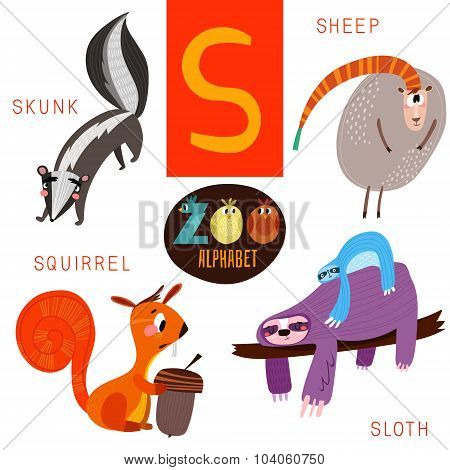 Cute Zoo Alphabet In Vector.s Letter. Funny Cartoon Animals:skunk,sheep,squirrel,sloth. Alphabet Des