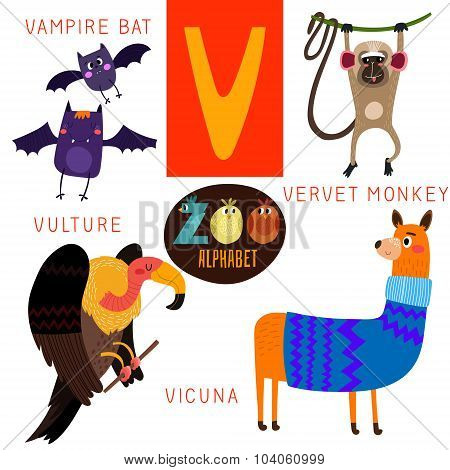 Cute Zoo Alphabet In Vector.v Letter. Funny Cartoon Animals:vampire Bat,vervet Monkey,vulture,vicuna