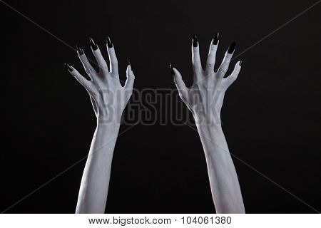 White witch hands with sharp black nails, Halloween theme