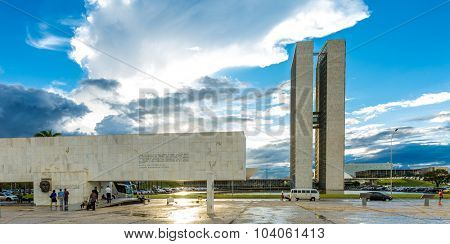 BRASILIA, BRAZIL - CIRCA MARCH 2015: The National Congress in Brasilia, Brazil