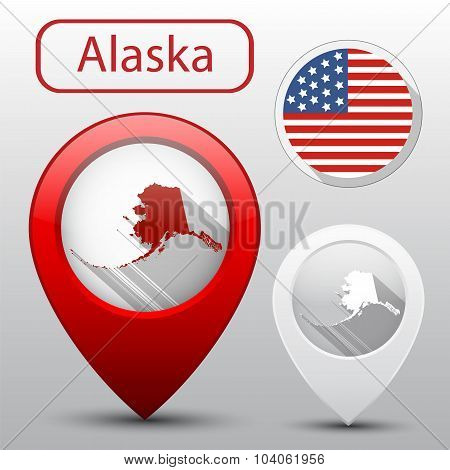Set Of Alaska State With Flag America Map Pointer