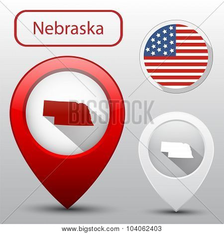 Set Of Nebraska State With Flag America And Map Pointer
