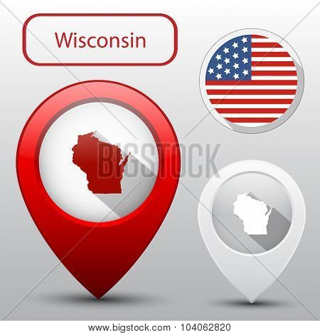 Set Of Wisconsin State With Flag America And Map Pointer