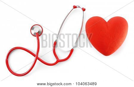 red stethoscope with heart isolated on white