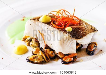 roasted fish steak with mussels