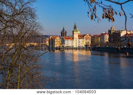 sunset view of Prague old town and Charles bridge, Czech Republic