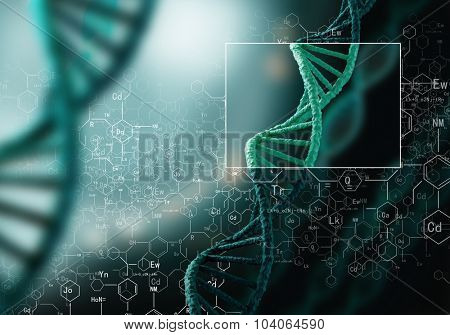 Concept of biochemistry with dna molecule on blue background