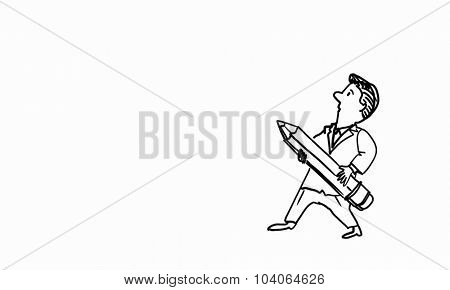 Caricature of funny man with pencil on white background