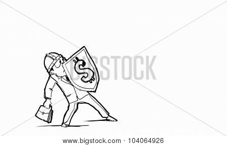 Scared businessman holding shield with dollar currency symbol