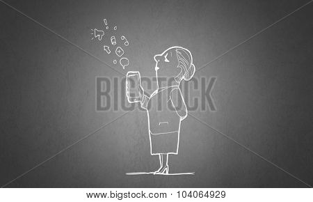Caricature of funny woman with mobile phone in hand