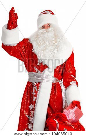 santa claus with gift box, isolated on white
