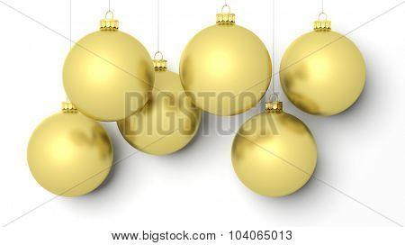Golden Christmas balls, isolated on white background.