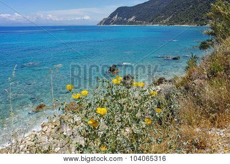 Panorama of Blue Waters of the Agios Nikitas Beach, Lefkada