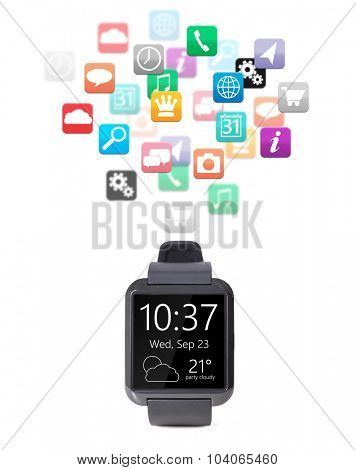 modern smart watch with cloud of apps isolated on white background
