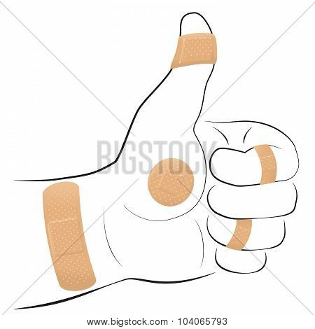 All Right Symbol Adhesive Plaster Thumbs Up
