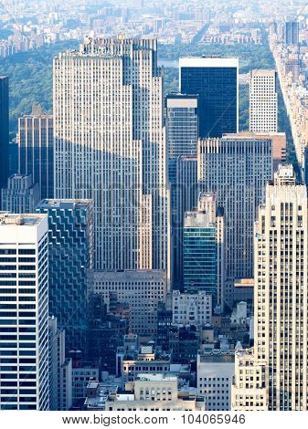 NEW YORK,USA - AUGUST 15,2015 : Aerial view of midtown Manhattan in New York City
