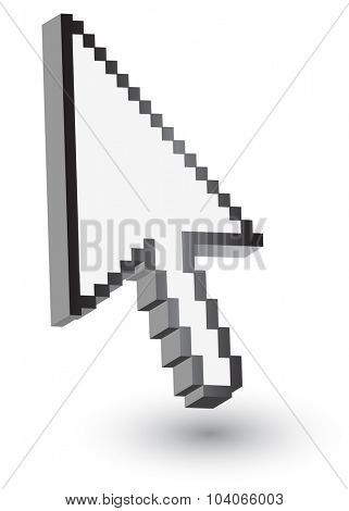 Pixelated pointer. Isolated on white.Vector eps10.