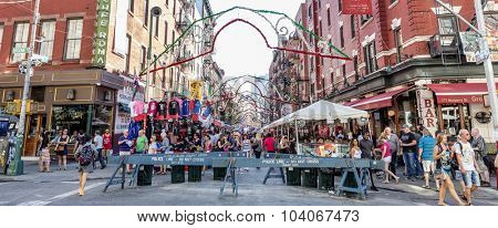 NEW YORK, USA - Sept 18th, 2015: Little Italy on Mulberry St. during the Feast Of San Gennaro. New York City's longest-running religious outdoor festival.