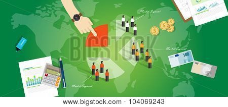 customer segmentation segment business concept marketing market people target