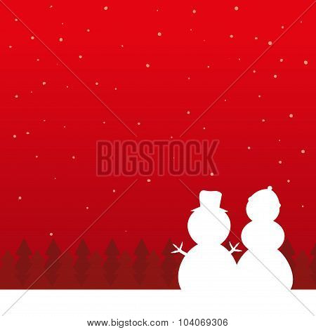 Christmas Background With Snowman Silhouette