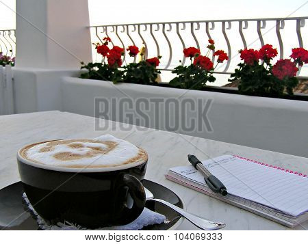 Cappuccino And Journal On Patio