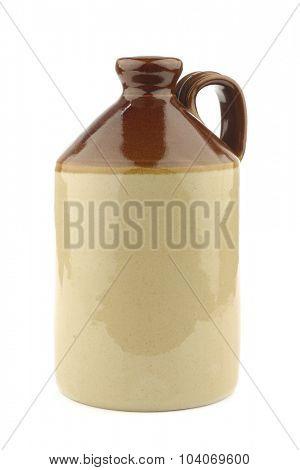 handmade ceramic jug on a white background