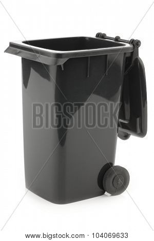black opened garbage can isolated on white background